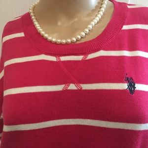 US Polo Pink/White/Blue Striped Sweater Sz M